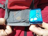 Multipower Multicarbo Jelly: Multicarbo Jelly Naranja: en un bolsillo delantero de una mochila